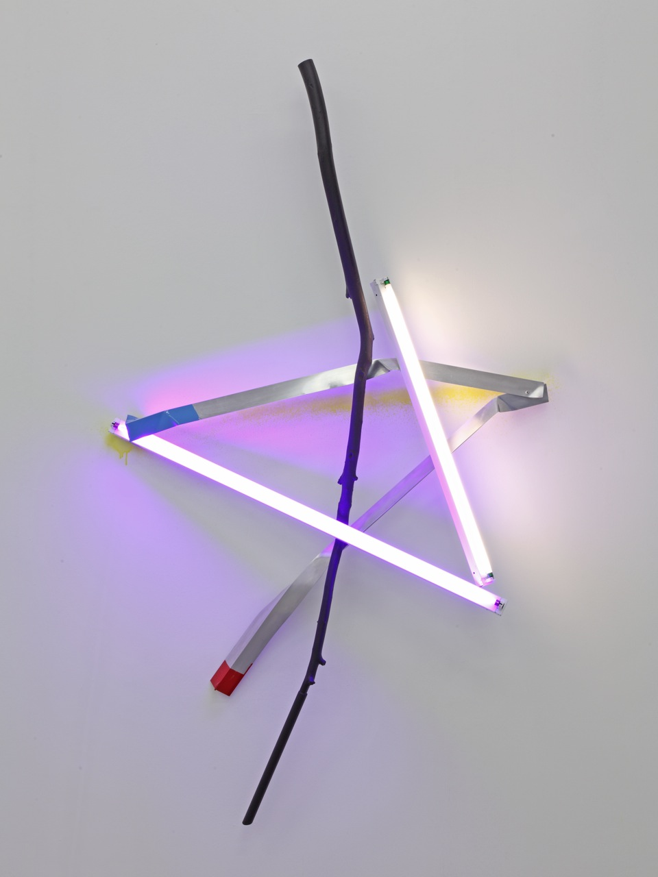 2013, neon ligths and electrical fixtures, wooden branch, aluminum, paint, 206 x 123 x 28 cm approx