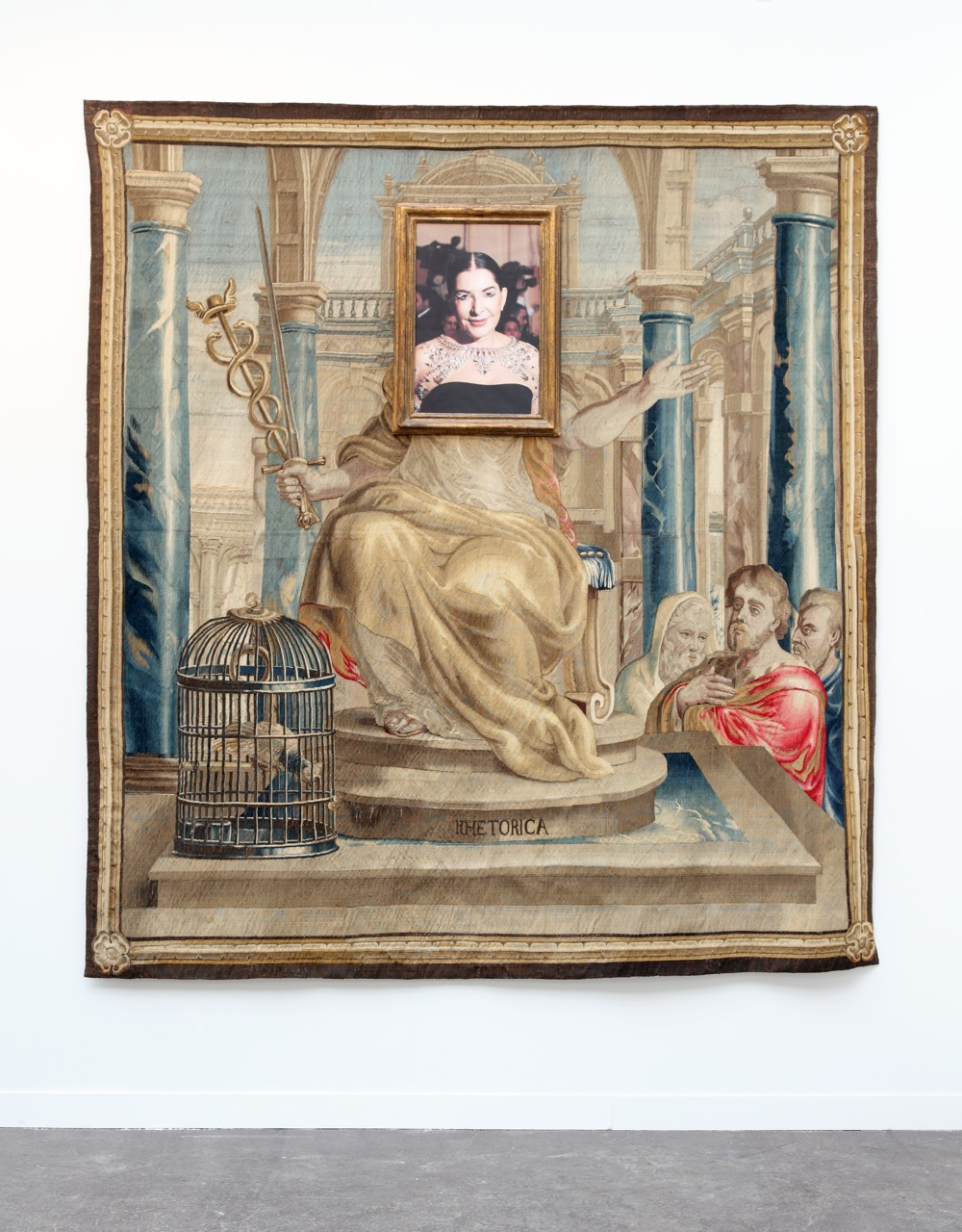 2013, tapestry, inkjet print and metallic embroidery on canvas, frame 265 x 250 x 5 cm
