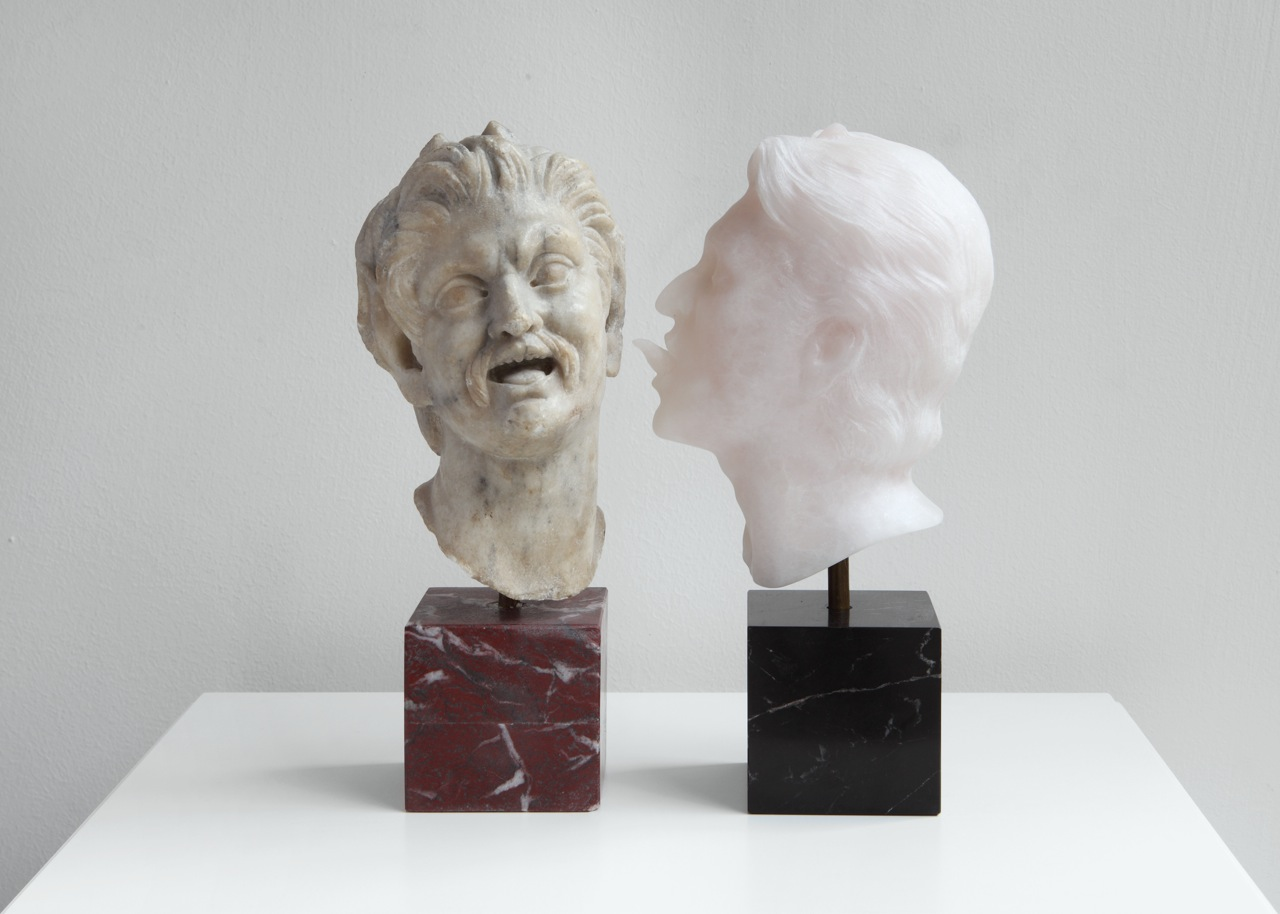 2012. Two parts,Artist's head: pink onyx and black St.Laurent marble;Satyr's head: Paros marble and porphyry painted plaster. Each: 25 x 12 x 8 cm. Overall dimensions with plinth: 135 x 80 x 80 cm
