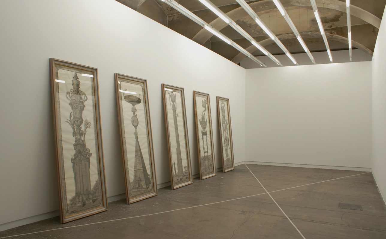 2007, ink and wash on paper in artist's frames 5 parts: cm. 210 x 75 each