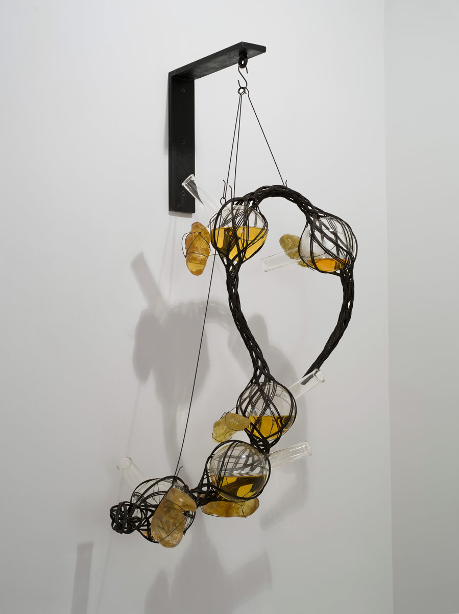 2011, iron, cardboard steel and coloured water, glass, epoxy, steel rigging, 122 x 74 cm
