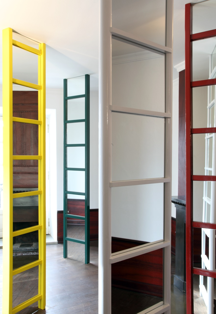 2012, wood, paint, mirrors, site specific dimensions, 7 ladders, cm 250 x 45 x 10 each approx., overall dimensions 250 x 650 x 160 cm