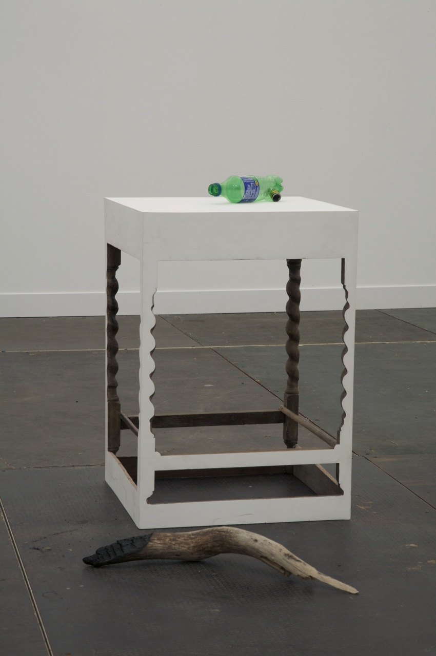 burned wood, wood, white filler paint, plastic, metal table, cm 70 x 50 x 50 approx, overall dimensions, cm 70 x 70 x 100 approx